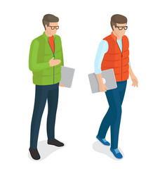 Men with laptops in glasses isolated white vector