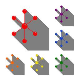 molecule sign set of red orange vector image vector image