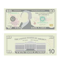10 dollars banknote cartoon us currency vector