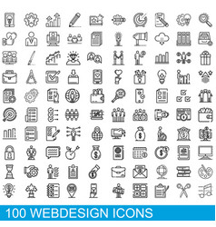 100 webdesign icons set outline style vector image