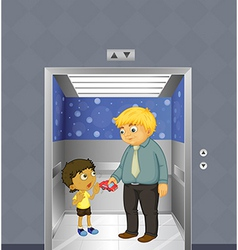 A man and a kid inside the elevator vector image vector image