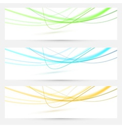 Abstract swoosh lines bright banners collection vector