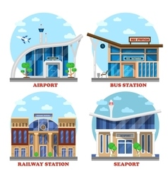 Airport and train station seaport bus vector