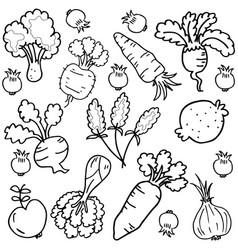 Art of vegetable set doodles vector