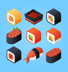 Asian isometric food sushi rolls and other japan vector