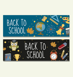 back to school set of banners template with space vector image