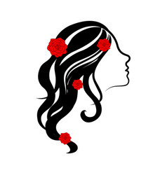 beauty girl avatar with roses vector image