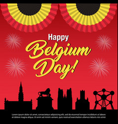 belgium national day celebration banner vector image