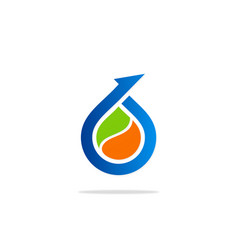 Bio arrow droplet logo vector