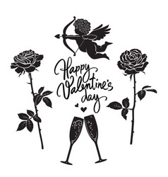 black silhouette cupid aiming bow and arrow vector image