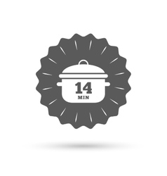 Boil 14 minutes Cooking pan sign Stew food vector image