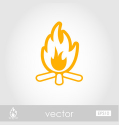 Bonfire outline icon summer vacation vector