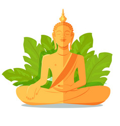 Buddha golden statue in front of green big leaves vector