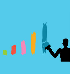 Business man painting bar graph paint roller flat vector