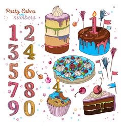 cake set with candles vector image