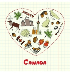 Canada Symbols Pen Drawn Doodles Collection vector image