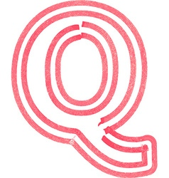Capital letter Q drawing with Red Marker vector