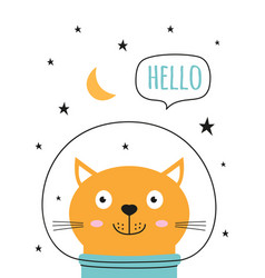 card cat and space vector image