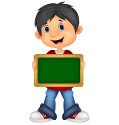 Cartoon boy holding board vector image