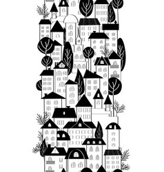 Cartoon hand drawing town houses and trees vector