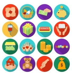 Charity and donation set icons in flat style Big vector image