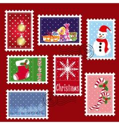 Christmas stamp postage vector