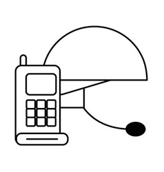 Communicator radio military force with helmet vector