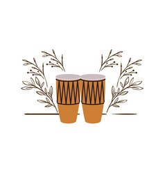 Congas with branches and leaves in background vector