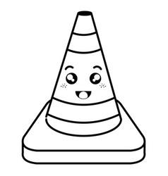 Construction cone kawaii character vector