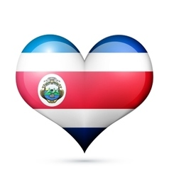 Costa Rica Heart flag icon vector