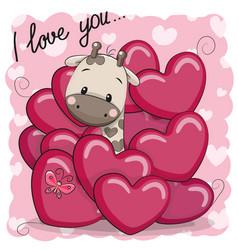 Cute cartoon giraffe in hearts vector