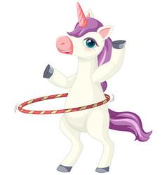 Cute purple unicorn in playing hula hoop position vector