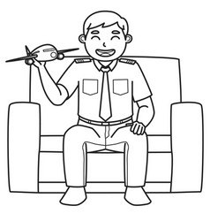 Dad character who is a pilot holds a toy plane vector