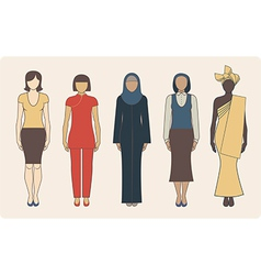 Different nationalities women vector