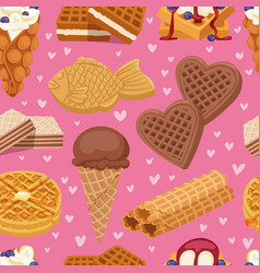different wafer cookies waffle cakes and chocolate vector image vector image