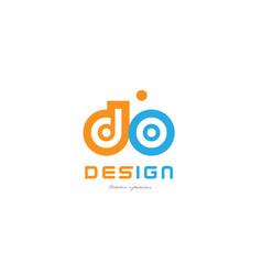 Do d o orange blue alphabet letter logo vector