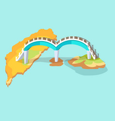 Dragon arched bridge in taiwan hand drawn icon vector