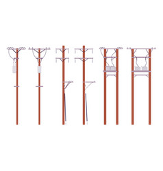 Electric wire poles set vector