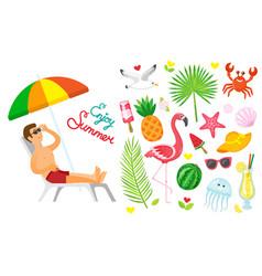 enjoy summer summertime elements set icons vector image