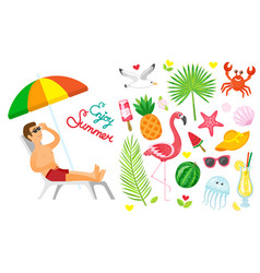 enjoy summer summertime elements set of icons vector image