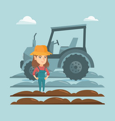 Farmer standing on the background of tractor vector
