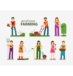 Farming and gardening horticulture set of icons vector