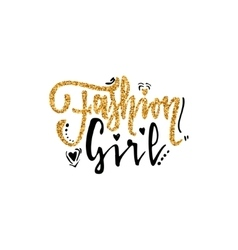 Fashion girl Calligraphy gold paint similar to vector