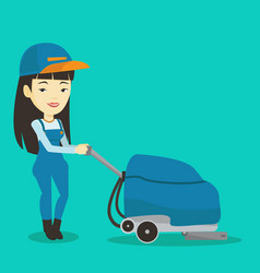 female worker cleaning store floor with machine vector image