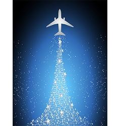 Festive silhouette aircraft fly over dark blue sky vector image