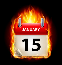 Fifteenth january in calendar burning icon on vector