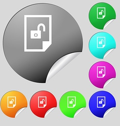 File unlocked icon sign set of eight multi colored vector