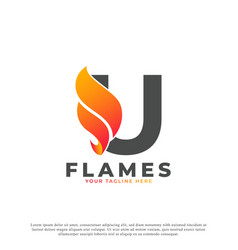 Flame with letter u logo design fire logo template vector