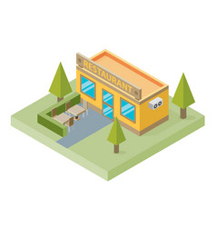 Flat isometric restaurant building with tables vector