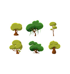flat set of green trees natural landscape vector image